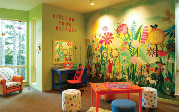 Cheerful children's playroom with wall mural