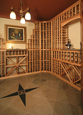 Formal wine cellar with unique inlaid marble flooring