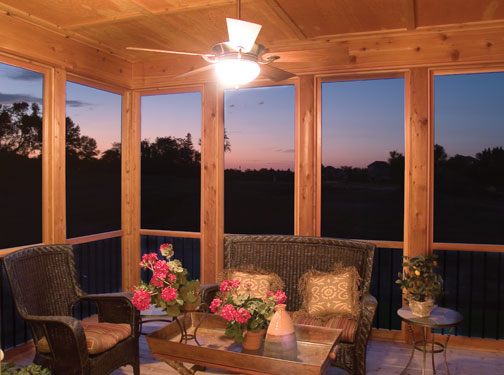 rustic sunroom interior