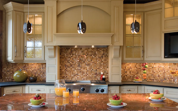 tiled backsplash in kitchen