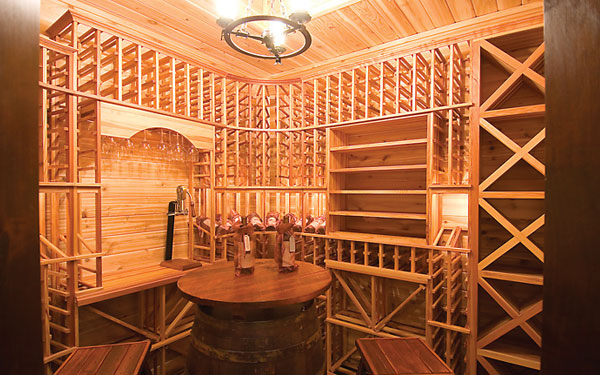 rustic wine cellar with lots of storage