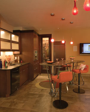 contemporary wet bar