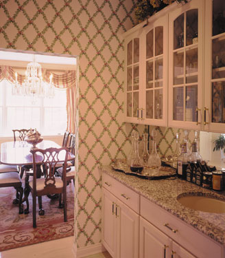 wallpapered butler's pantry