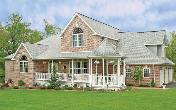 traditional home plan with attached gazebo