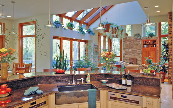 open floor plan with many house plants