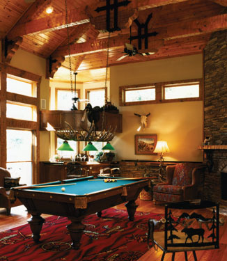 rustic billiards room