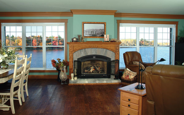 lakefront family room in home