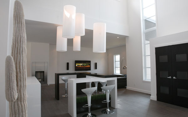 modern home with unique chandelier