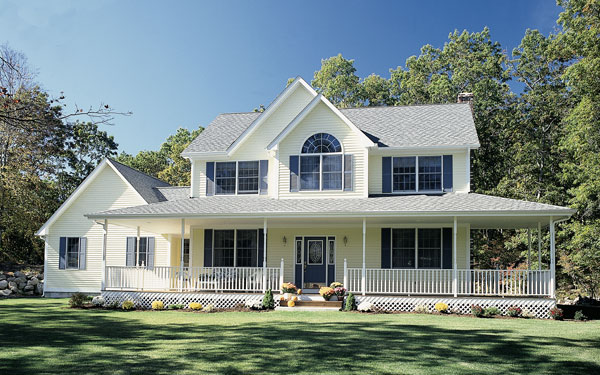 Country farmhouse with covered porch