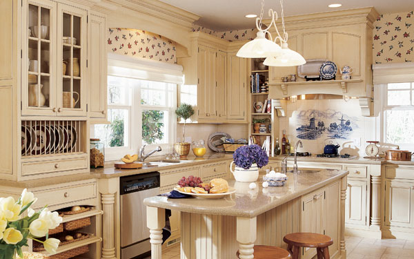 cheerful kitchen with floral wallpaper