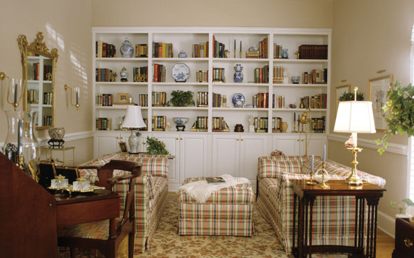 family room with bookcases