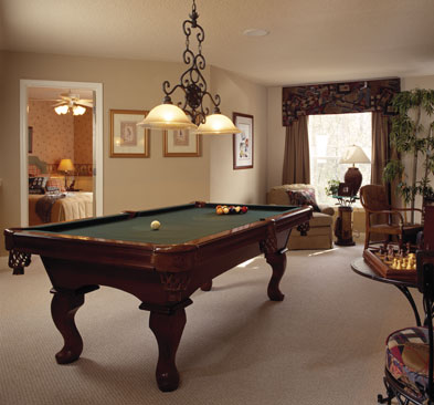 loft area converted to billiards room