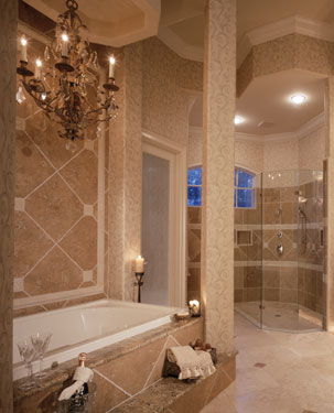 elegant master bath with chandelier