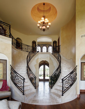 elegant European luxury home with entry chandelier