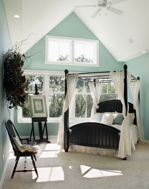 tranquil bedroom with soothing fabrics and color