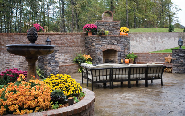 Brick patio with fall landscaping