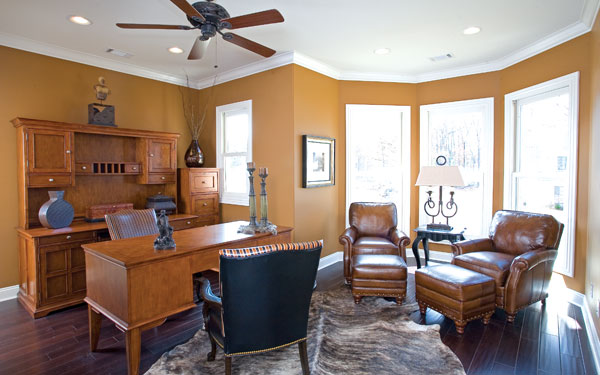 Home office with a bay window