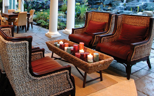 candle decor on a cozy covered porch