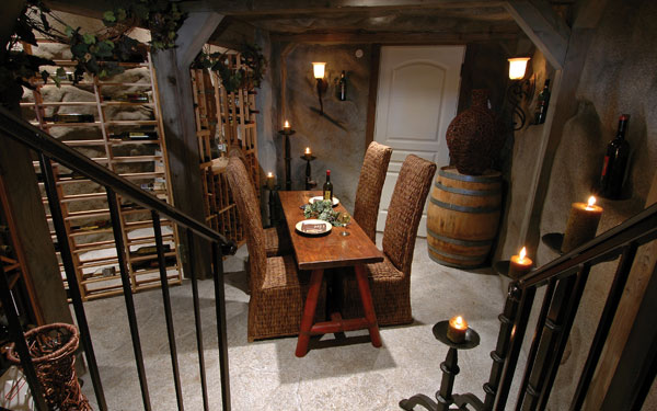 european style wine cellar with seating