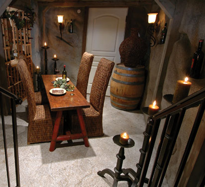 cozy wine cellar with candles