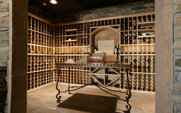 large and luxurious wine cellar