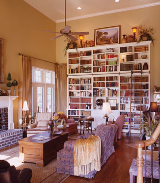 Oversized bookcase is focal point of great room
