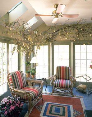 cheerful sunroom with skylights