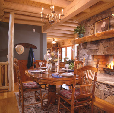 rustic log ceiling in dining room