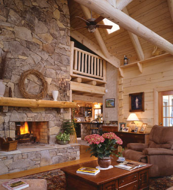open log home floor plan