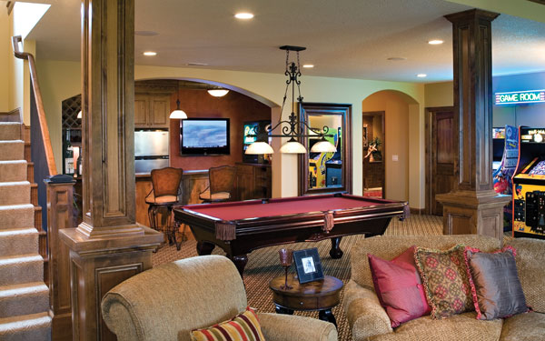 lower level with pool table and game area