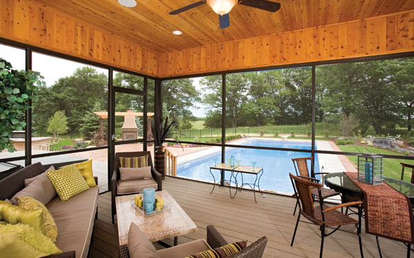 screened porch with colorful decor and accents