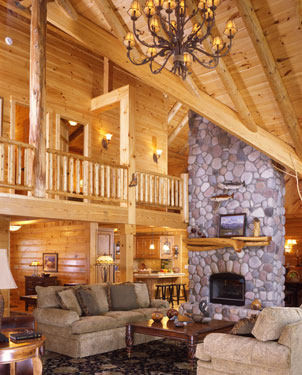 open log home living room