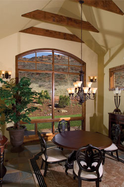 rustic beamed dining room