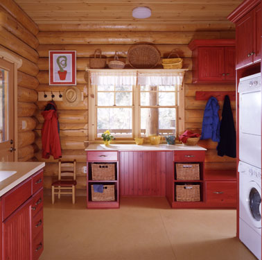 luxury log home laundry room