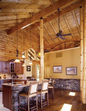 rustic kitchen with boat above