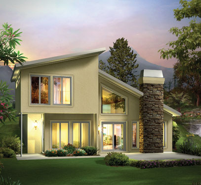 two-story contemporary berm style home
