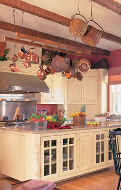country kitchen with plenty of storage