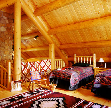 bedroom loft in log home