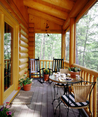 log home outdoor covered deck