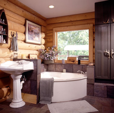 log home bath with big window