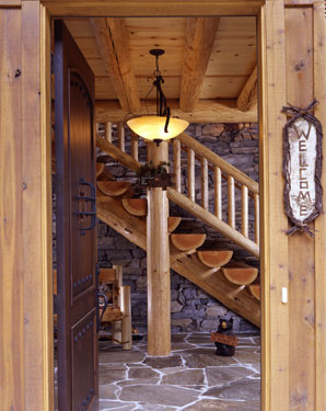 open front door of log home