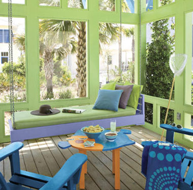 beach themed screened porch