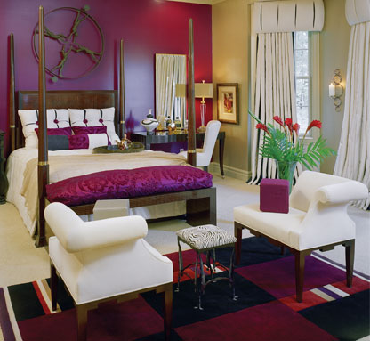 bold colored bedroom