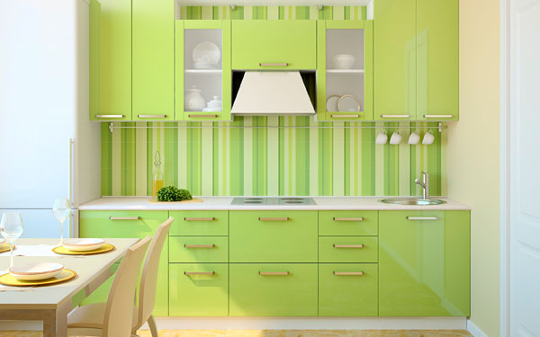 bold colored small kitchen