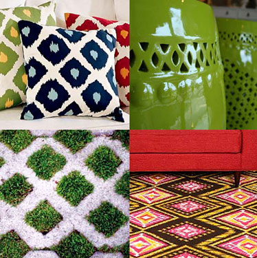 a combination of bold patterened pillows, rugs and accessories