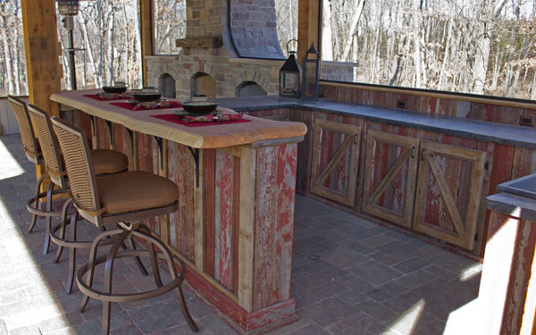 bar made with reclaimed wood