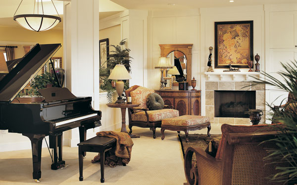 luxury great room with piano