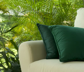 couch and pillows with hemp fabric