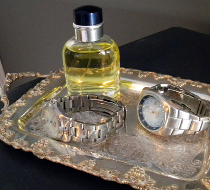 vintage tray with watches and perfume