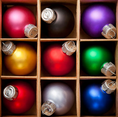 box of colorful Christmas ornaments